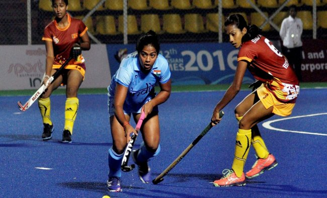Women hockey final match played between India(blue ) and Srilanka (red ) during the 12th South...