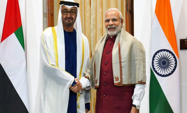 Narendra Modi shakes hands with Sheikh Mohammed bin Zayed Al Nahyan, Crown Prince of Abu Dhabi...