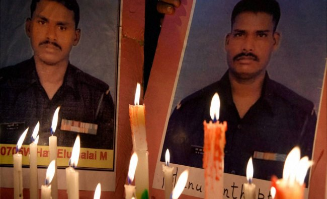 NSUI Workers pay tribute candle light tribute to Siachen soldier Lance Naik Hanamanthappa ...