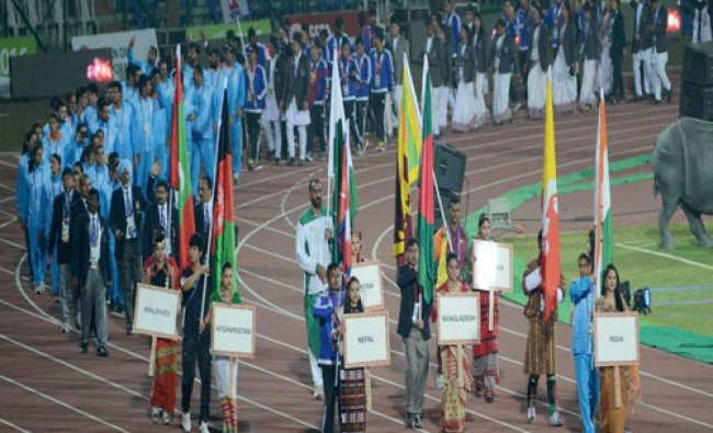Contingents of SAF countries marching past at the closing ceremony of the 12th South Asian Games...