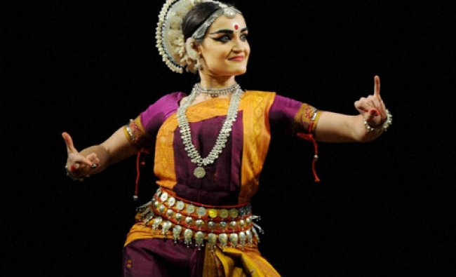 Silvia Vona from Italy presenting an Odissi dance performance at the 8th Pragjyoti...
