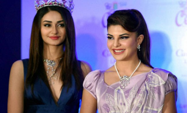 Actress Jacqueline Fernandez with Miss India 2015 Aditi Arya during an event in Mumbai...