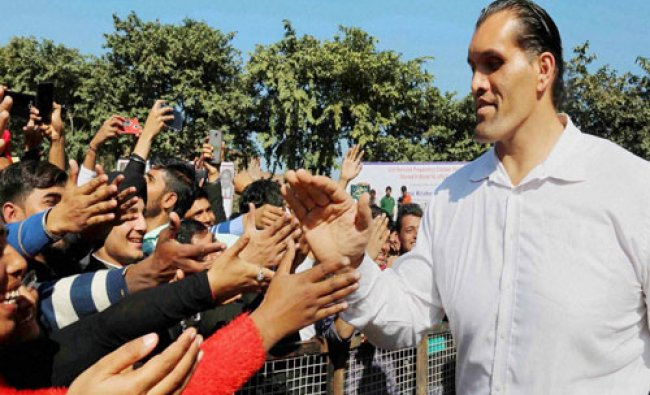 The Great Khali interacts with the students in Jalandhar on Wednesday...