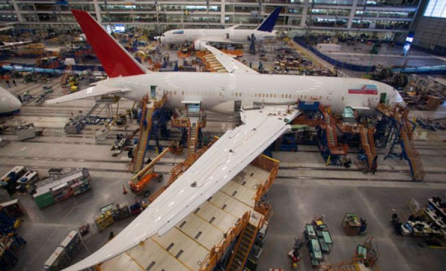 Workers at South Carolina Boeing constructing a 787 Dreamliner for Air India at the plant\'s final...