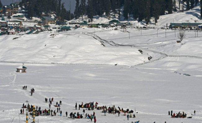 Tourist enjoying at Gulmarg ski resort in district Baramulla...