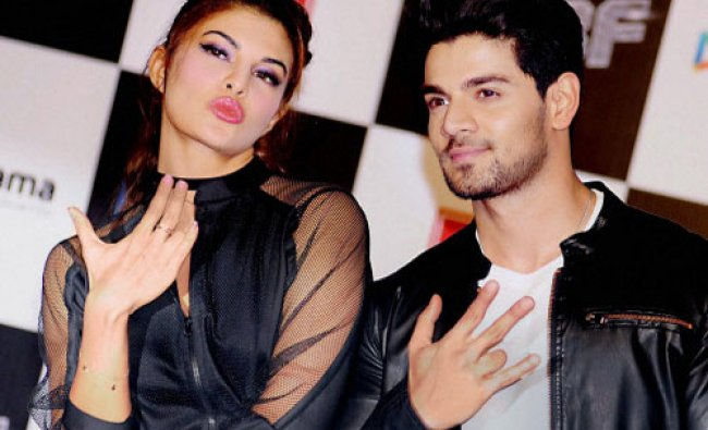 Bollywood actors Jacqueline Fernandez and Sooraj Pancholi during the release of teaser of the...