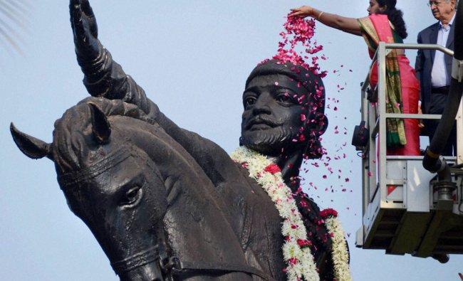 Mumbai Mayor Snehal Ambekar pays floral tributes to Chhatrapati Shivaji Maharaj on his birth...