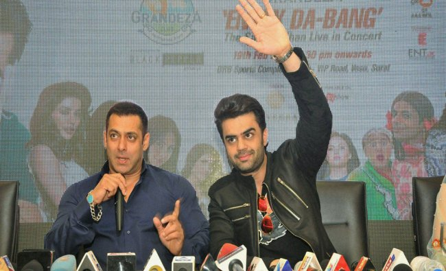 Bollywood actor Salman Khan at a press conference in Surat on Friday...