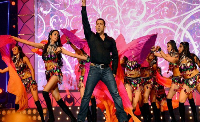 Bollywood actor Salman Khan performs at a programme in Surat...