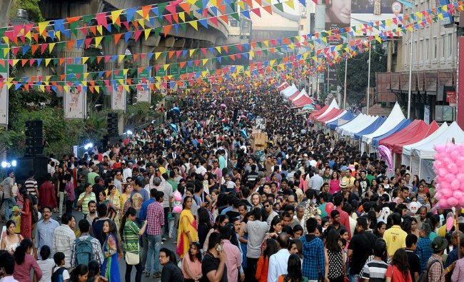 Bengalurians as well as tourist freakout and enjoy during the open street at MG Road in Bengaluru..