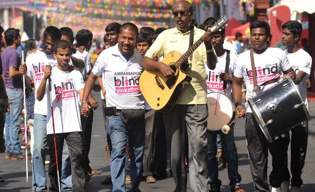 Visully Challenged enjoys at Open Street fest in MG Road, organized by Namma Metro...