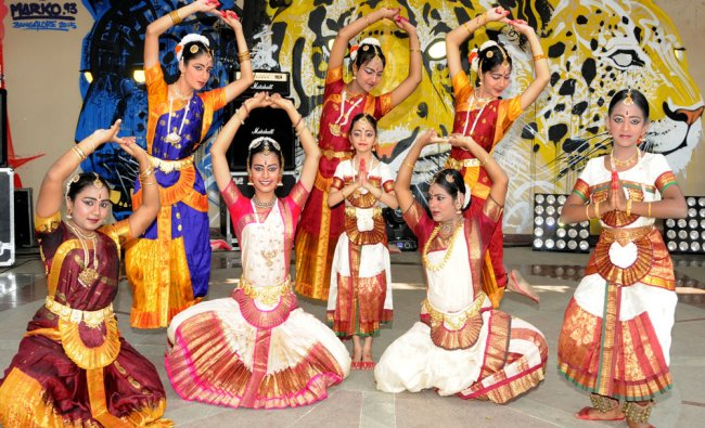Artists from Shanthala Arts Trust performing dance at Open Street fest organised by Namma Metro...