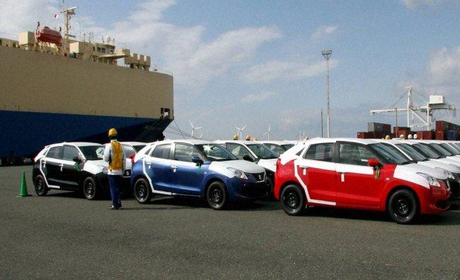 Made in India Suzuki Baleno gets unloaded at Toyohashi Port Japan...