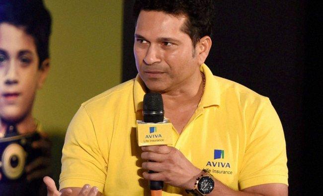 Sachin Tendulkar during a promotional event of Aviva Life Insurance in Mumbai ...