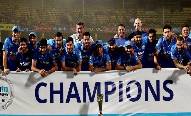 India Cricket team celebrates winning the T20 three match series against Sri Lanka...