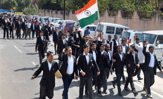 Lawyers take out a rally as they demonstrate against alleged anti national activities in JNU...