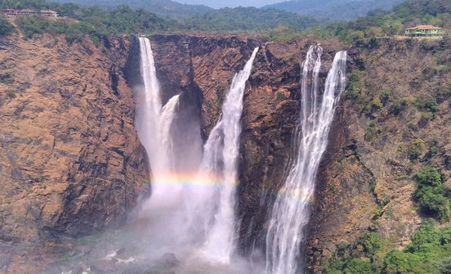 A rare view of the roaring Jog Falls is seen as power generation is halted at Sharavathi Generating.