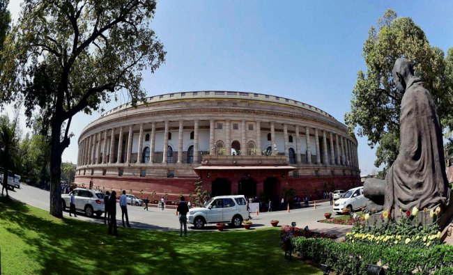 Parliament during the first day of budget session in New Delhi on Tuesday...