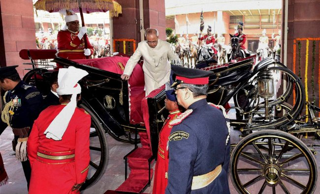 President Pranab Mukherjee arrives for his address to the Joint Session of Parliament...