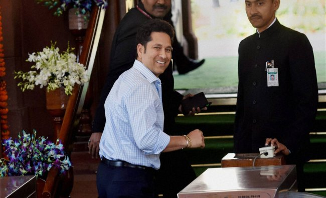 Sachin Tendulkar at Parliament on the first day of budget session in New Delhi...