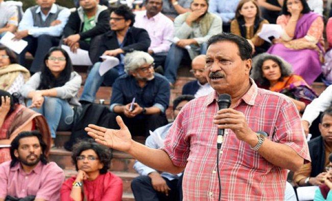 JNU teachers\' association president Ajay Patnaik addresses a press conference at university campus