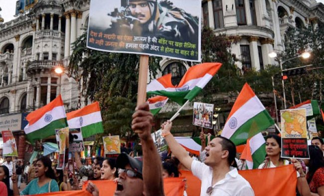 Activists participate in \'March for Bharat\' with the Nation Flag to stop anti-national activities..