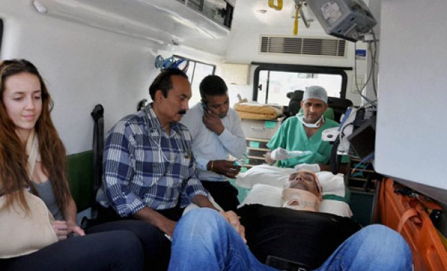 Former world heavy weight wrestling champion Dalip Singh Rana aka Khali going to the hospital in ...