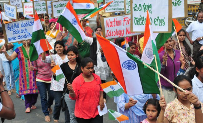 People takes part in walk for nation programme, organised by Rashtriyavadigala Vedike...