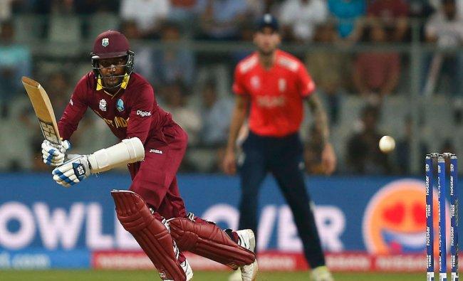 West Indies Denesh Ramdin plays a shot...