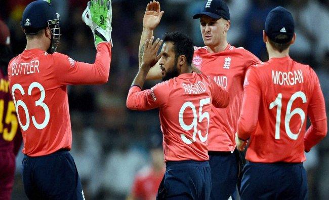 Englands Adil Rashid celebrates the wicket of Marlon Samuels during a ICC WT20 match...