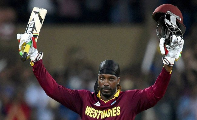 Chris Gayle celebrates his century during a ICC WT20 match against England...