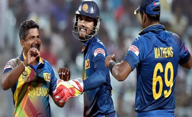 Sri Lankan bowler Rangana Herath is jubilant after taking a wicket during an ICC T20 World cup ...
