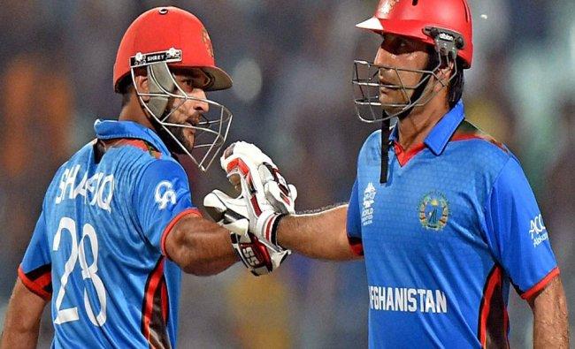 Afghanistan batsman Asghar celebrate his 50 run during ICC T20 World Cup Match against Sri Lanka...