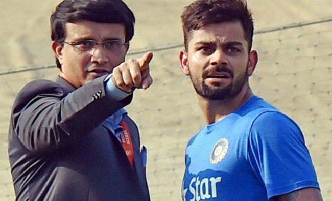 Sourav Ganguly with Virat Kohli during Indian team\'s practice session at the Eden Gardens...