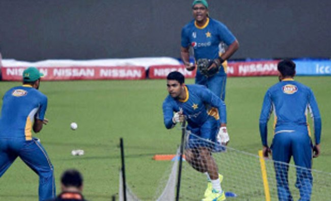 Pakistani cricketers during their training session at the Eden Gardens...