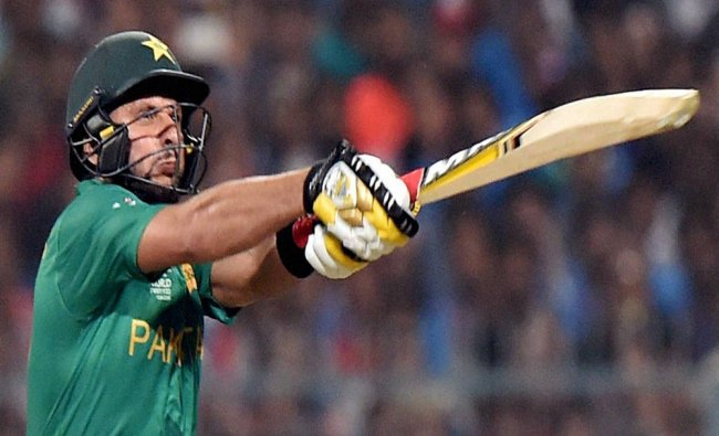 Shahid Afridi plays a shot during the ICC T20 World cup match against India at Eden Garden...
