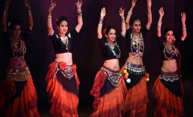 Students from Sanaz Bakhtiari Belly Dance Studio performing belly dance...