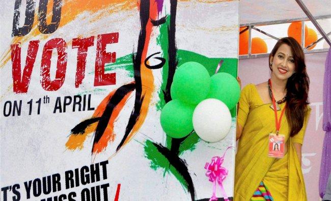 Actress Barsha Rani Bishaya inaugurating a voter awareness mobile van...