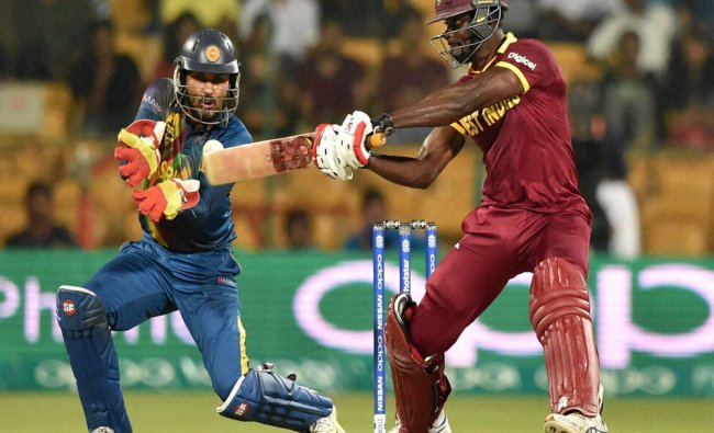 West Indies Andre Fletcher plays a shot during the ICC World T20 match...