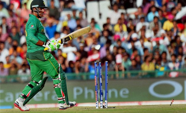 Pakistani player Sharjeel Khan is stumped out during the ICC World T20 match against Australia...