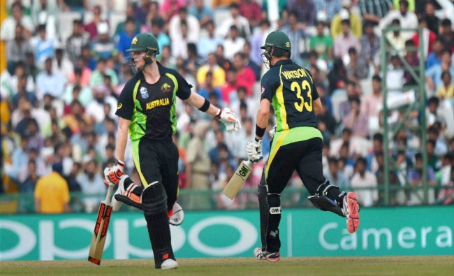 Australia\'s Shane Watson and Steve Smith during the ICC World T20 match against Pakistan...