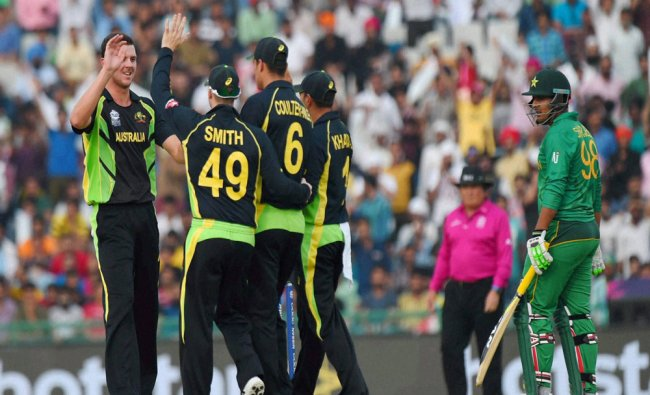 Australian players celebrating the wicket of Ahmed Shehzad of Pakistan during the ICC World T20...