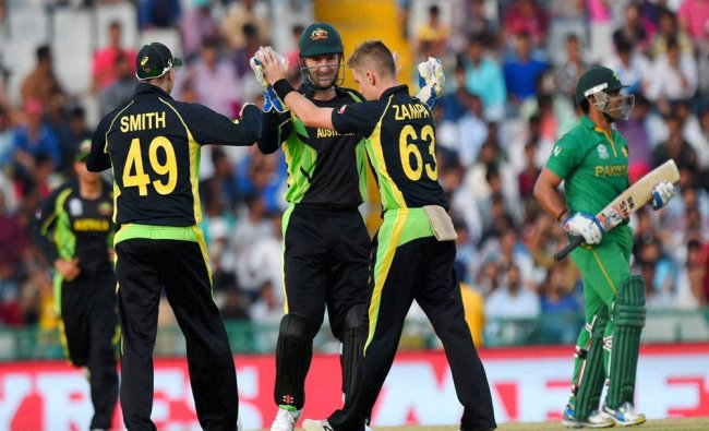 Australian players celebrating the wicket of Umar Akmal of Pakistan during the ICC World T20 match..