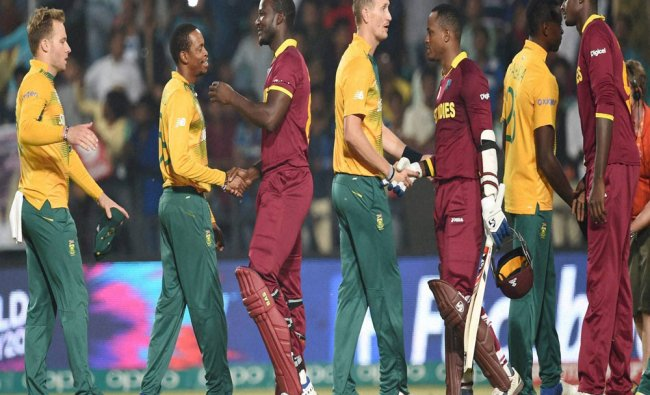 West Indian players celebrate thier victroy during the match of the ICC T20 World cup match against
