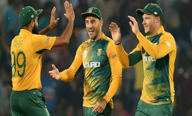 South African players celebrate the run out of West Indian batsman Andre Fletcher during the match..
