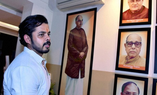 Cricketer S Sreesanth at Party\'s office after meeting with BJP President Amit Shah...
