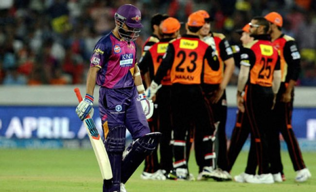 Ajinkya Rahane of Rising Pune Supergiants walks after he gets out during an IPL T-20 match...