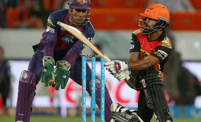 Shikhar Dhawan of Sunrisers Hyderabad plays a shot during an IPL T-20 match...