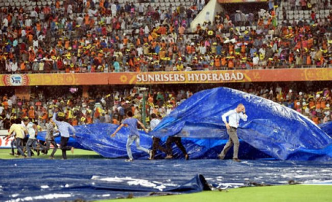 The ground is covered as it rains during IPL match between SRH and RPSG...