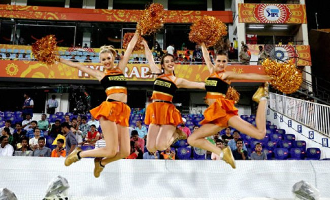 Sunrisers Hyderabad cheerleaders during during an IPL T-20 match...